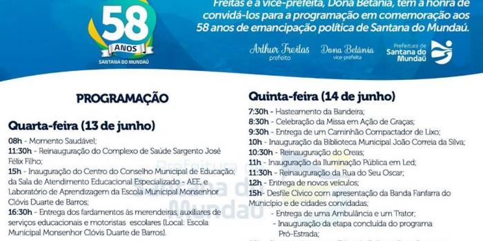 Prefeitura realiza programação especial em comemoração aos 58 anos de emancipação política
