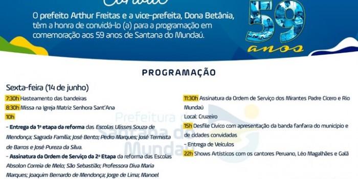 Santana do Mundaú celebra seus 59 anos de emancipação política com vasta programação